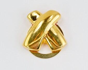 Vintage Gold Tone Polished Glossy Geometric X Criss Cross Goldtone Hinged Minimalist Scarf Clip Accessory