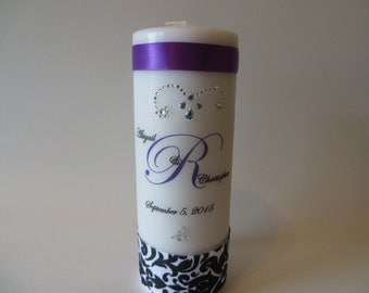 Three piece Monogrammed Pillar Candle - Unity Candle, anniversary, memorial, birthday - customize your candle as you like.