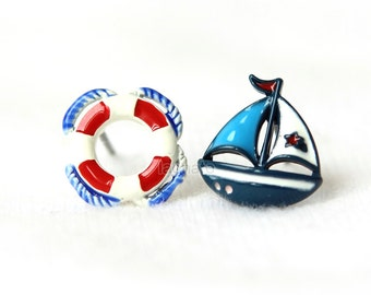 Marine Earrings / sail boat, lifebelt