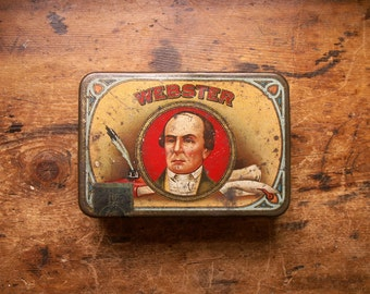 Vintage Webster Cigar Tin - Tobacco Advertising Tin - Small Storage Box