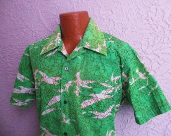 60's Vintage Men's Seagull Batik Print Shirt XL