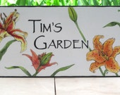 LILIES Custom Garden, House Plaque, Hand Painted, Original Design, Porcelain, Outdoor Sign, Personalized, House Numbers, Yellow,Red, Orange