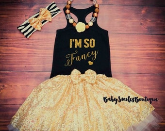 I'm So Fancy Gold Glitter Shirt Baby Girl Clothes Baby Shower Gift Hipster Baby Clothes Baby Girl Shirt Racer Back Tank Gold Shirt 180