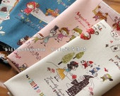w156_55 - fairy tales- cotton linen - Half Yard (Peter Pan, Little Red Riding Hood, Alice in Wonderland)