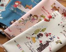 w156_55 - fairy tales- cotton linen - Half Yard (Peter Pan, Little Red Riding Hood, Alice in Wonderland)
