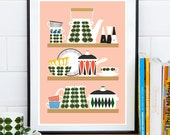 Kitchen print, Scandinavian print, Kitchen wall art, Kitchen decor, Pink kitchen art, Art for kitchen, Stig Lindberg, Retro poster, cooking