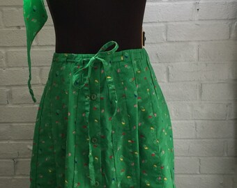 Vintage 70's Sanibel Sport Kelly Green Design Skirt & Head Band-Cute