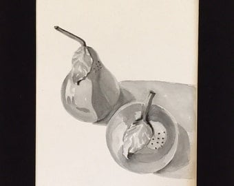 Original Painting - Still Life - Black and White Painting - watercolor salt and Pepper - Fine art home decor - Wall art kitchen