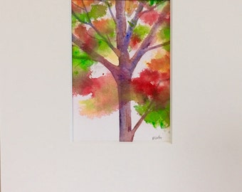 Tree painting Fall - Original art watercolor - Autumn landscape - fine art home decor - wall art