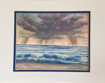 Original Watercolor Painting - Storm Clouds - Lake Ocean Beach Wave - Seascape - fine art home decor - wall art nautical