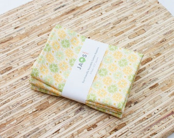 Small Cloth Napkins - Set of 4 - (N2717s) - Yellow Modern Reusable Fabric Napkins