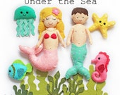 Under the sea felt softies pdf pattern, sew your own, mermaid, merman, sewing pattern, wool felt, fish, seahorse, jellyfish, diy, tutorial