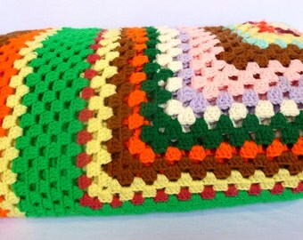 GIANT Vintage Neon GRANNY Square COVERLET