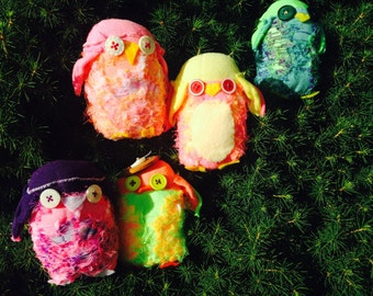 sock owls made from bright colorful socks