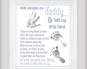Walk Alongside Me, Daddy Art Print - Personalize with Baby's Prints - Unique DIY First Fathers Day Gift from Baby - New Dad Gift - 3 Colors!