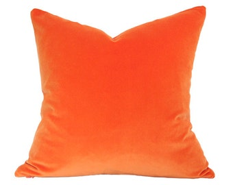 Orange Velvet Pillow Cover - Made-to-Order