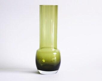 Riihimaki Lasi Oy Green Art Glass Vase  - 60s