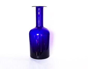 Mid Century HUGE XL Danish Cobalt Blue Glass Vase - Otto Brauer Holmegaard 60s