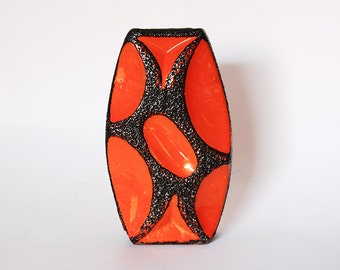 Vintage Fantastic Collectors Item German Orange Black Lava Vase 311 - Roth 1970s