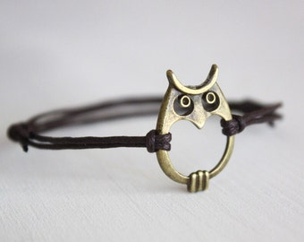 Owl Bracelet or Anklet, Owl Silhouette, Antique Brass Bracelet, Bronze Bracelet, Bird Bracelet, Night Owl Jewelry