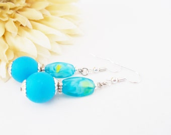 Bright Blue Earrings, Czech Glass Earrings, Beaded Earrings, Clip On Earrings, Ocean Earrings, Nickel Free Earrings, Sterling Silver Jewelry