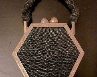 Hexagonal Beaded Handbag.  Art Deco Purse.