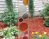 Stained glass garden art stake amber grape taupe gray modern outdoor yard decoration