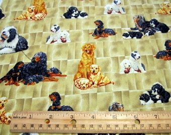 Parents and Pups Dogs Allover on Tan cotton fabric by VIP/Cranston fabrics