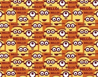 Minions Toss Bello Orange premium cotton quilting fabric from Quilting Treasures