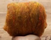 Wool Batting for Needle Felting, Amber, Batts, Wet Felting, Spinning, Dyed Felting Wool, Dark Yellow, Mustard, Gold, Fiber Art Supplies