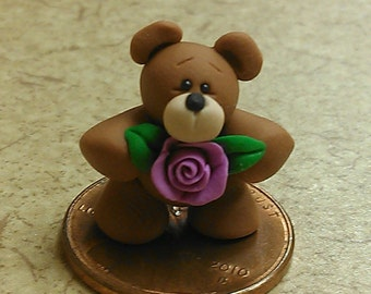 Miniature Teddy Bear with Rose