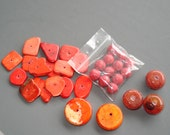 Destash Mix of Red and Orange Magnesite and Composite Stone
