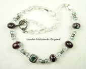 Necklace in Shades of Turquoise, Brown and White Handmade Lampwork Glass Beads