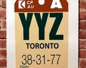 Retro Luggage Tag YYZ Print Black and Oxblood Red