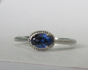 White Gold and  Oval Sapphire Ring Vintage inspired East West oval ring
