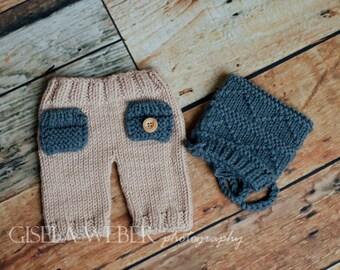Baby Boy Hat, Tan Baby Pants Set, Boy Photo Props, Tan Newborn Pants, Newborn Girl Prop, Newborn Boy Hat, Neutral Boy Prop, Neutral Props
