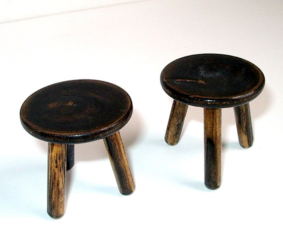 Rustic 3 Legged Stools Set Of Two Stools Dollhouse