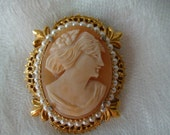 Antique Florenza Cameo Brooch, 1930's Collectible, Preserved in Locked Jewelry Box for 50 Years