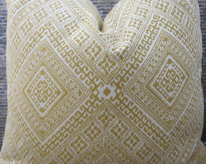 3BM Designer Pillow Cover Lumbar, 16 x 16, 18 x 18, 20 x 20, 22 x 22 - Nate Berkus Tumeric Embroidered Yellow