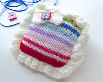 Pincushion, striped knitted pincushion, buttons and bows, pin tidy, craftroom accessory, Free UK postage, knitted stripes pin pad,
