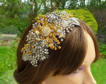 Side Tiara: in silver and gold tones, filled with vintage settings and gold and silver pearls - something old