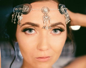 Headpiece Head Jewelry Hair Jewellery Burning Man Festival Hair Accessories Headdress Boho Gypsy Metal Head Chain Headpiece Savannah 1