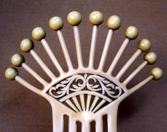 Art Deco Hair Comb French Ivory with Balls Spanish Comb Hair Accessory Hair Jewelry Hair Ornament Headpiece Headdress