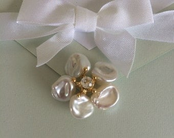 Wedding perfect-Pearl flower earrings- keshi pearls and white topaz center stone
