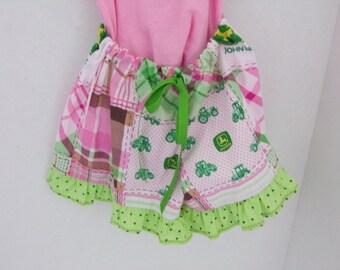 Little Girls' Pink John Deere Pajama Shorts Size 3
