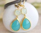 Turquoise and Light Mint Dangle Earrings in Gold.  Drop Earrings. Bridesmaids Earrings. Gift. Wedding Jewelry. Turquoise Dangle Earrings.
