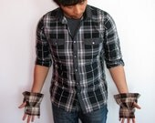 Flannel Gauntlets - Shelter Brown - unisex wrist wraps made from repurposed material