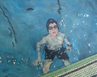 Swimmer art painting // SWIMMER no. 3 // swimming pool // original art // acrylic painting on 18 x 24 canvas