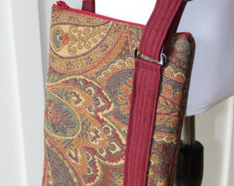 Red Gold and Green Paisley Cross Body Hipster Bag