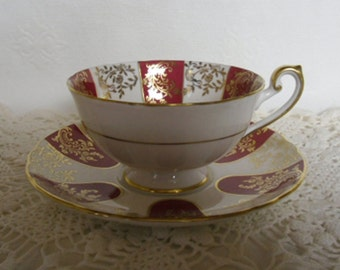 Vintage Shelley Cup and Saucer Maroon Red & Gold Scrolling and Snowflake Lincoln Pedestal Foot England